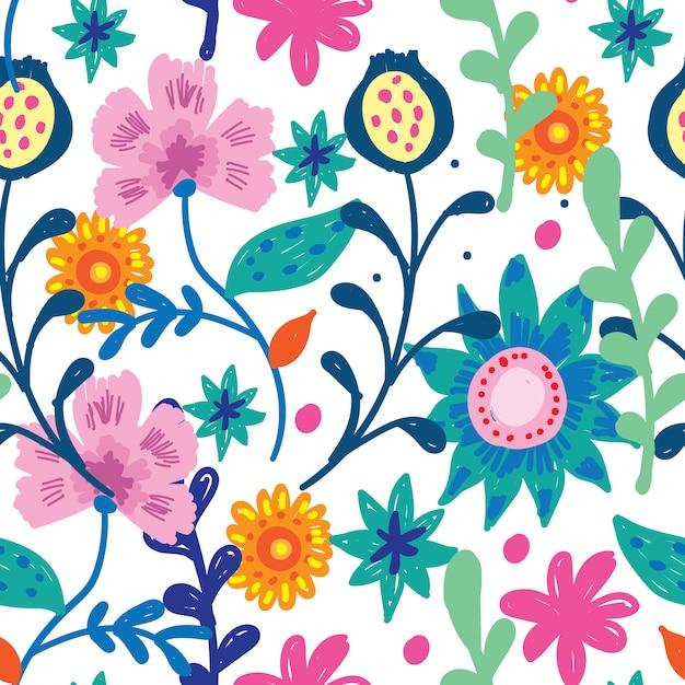 Padrão sem emenda desenhada de mão floral fofo Vetor Premium
