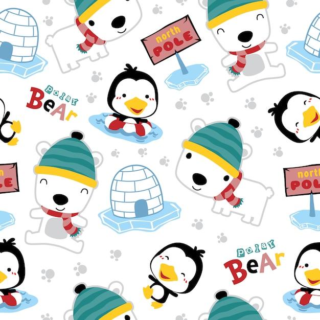 Padrão sem emenda do urso polar dos desenhos animados com pinguim Vetor Premium
