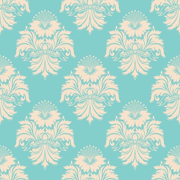 Padrão sem emenda do vetor do damasco. ornamento de damasco à moda antiga de luxo clássico, envolvimento de textura perfeita real victorian. modelo barroco floral requintado. Vetor grátis
