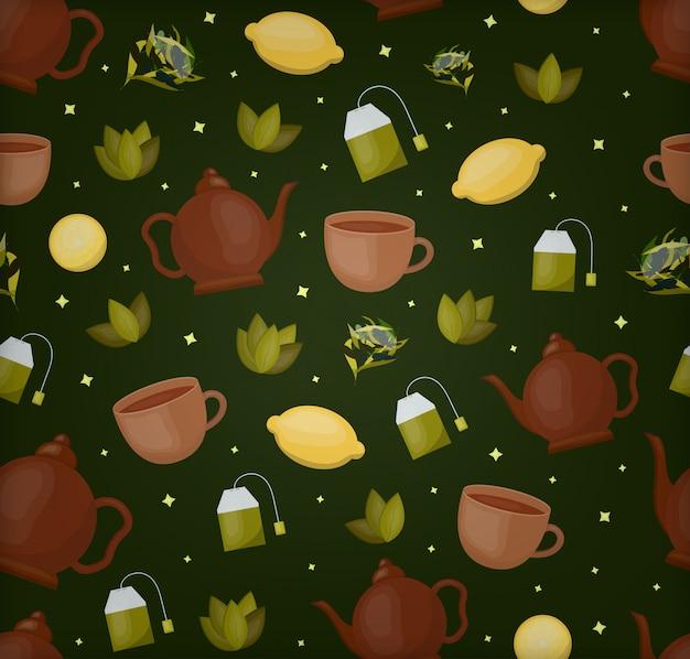 Padrão sem emenda dos desenhos animados do tema do chá para papel de embrulho, cobrindo e marcando com fundo verde escuro. conceito de bebida asiática e cerimônia do chá. Vetor Premium