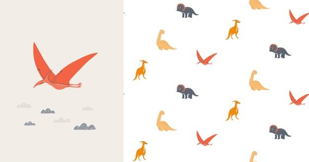 Padrão sem emenda e cartão com dinossauros bonitos. era pré-histórica. ilustração infantil. Vetor Premium