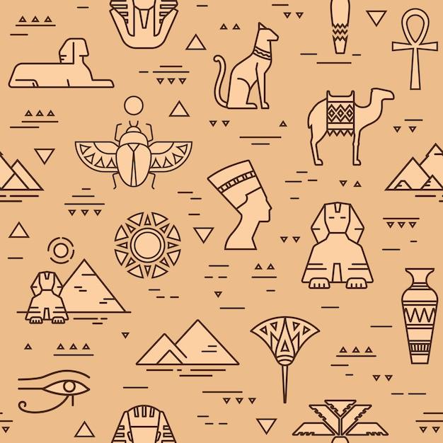 Padrão sem emenda egípcio de símbolos, pontos de referência e sinais do egito Vetor Premium