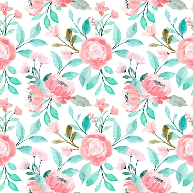 Padrão sem emenda em aquarela floral rosa com folhas verdes Vetor Premium