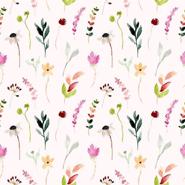 Padrão sem emenda em aquarela floral selvagem colorido Vetor Premium