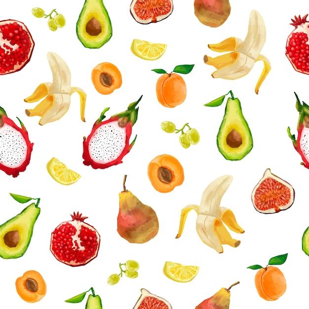 Padrão sem emenda em estilo aquarela. bagas, frutas, frutas tropicais. Vetor Premium