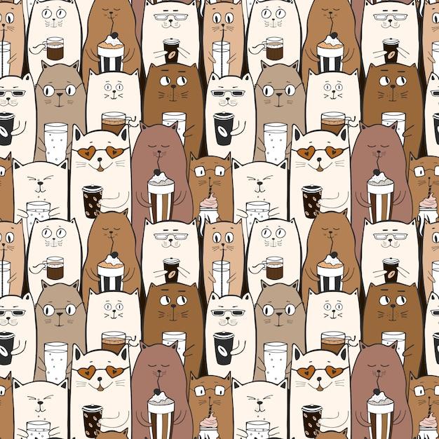 Padrão sem emenda engraçado com gatos bonitos doodle Vetor Premium
