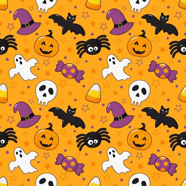 Padrão sem emenda feliz halloween ícones isolados na laranja Vetor Premium
