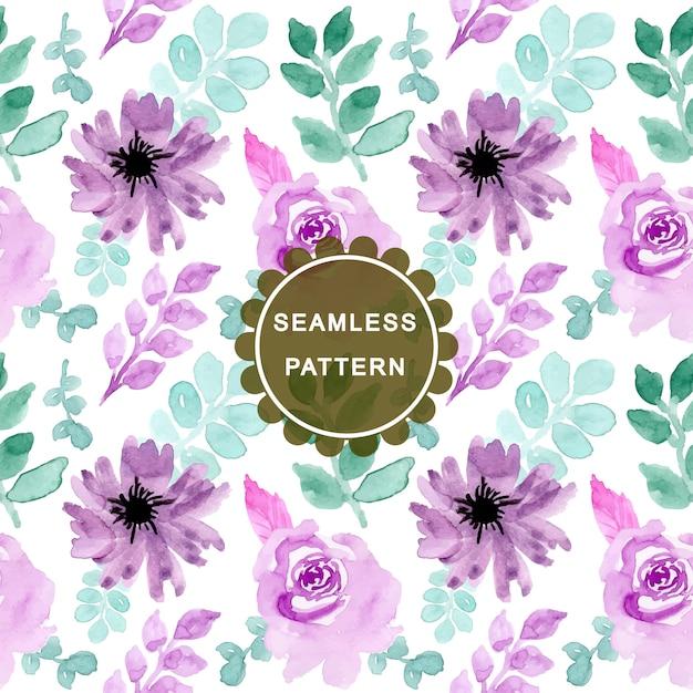 Padrão sem emenda floral aquarela verde roxo Vetor Premium