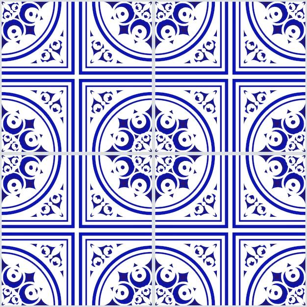 Padrão sem emenda floral azul e branco cerâmico Vetor Premium