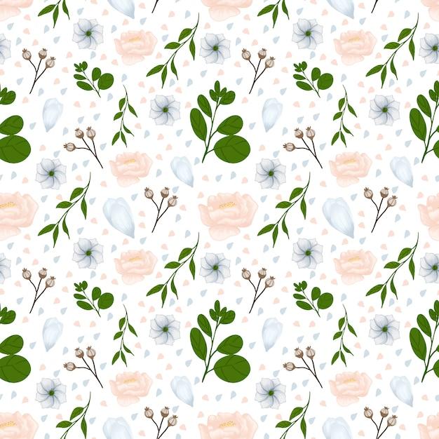 Padrão sem emenda floral branco com lindas flores de outono Vetor Premium