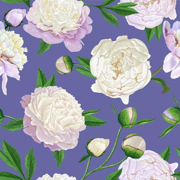 Padrão sem emenda floral com flores brancas de peônias Vetor Premium