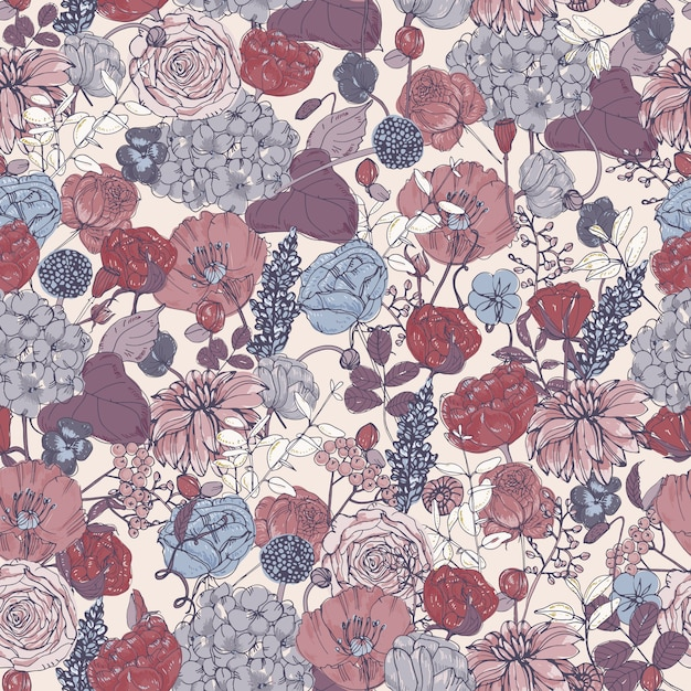 Padrão sem emenda floral com flores, fundo vintage. ilustração colorida. Vetor Premium