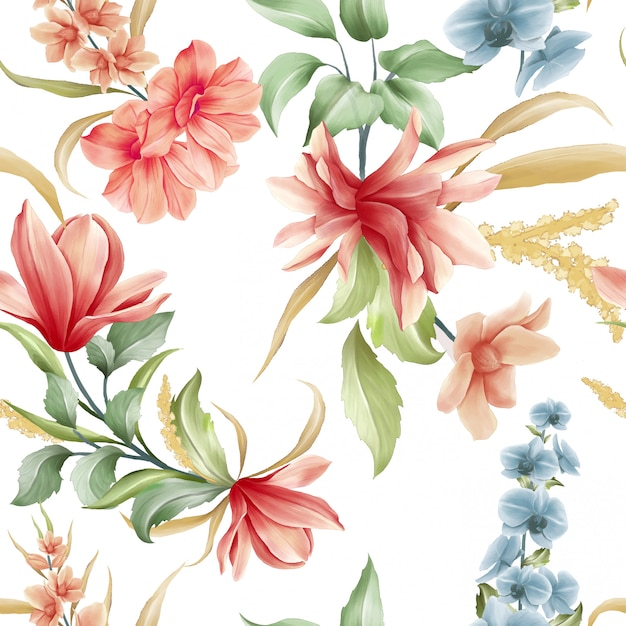 Padrão sem emenda floral de flores de magnólia e orquídea Vetor Premium