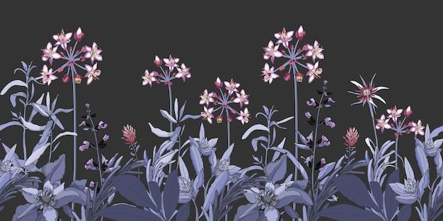 Padrão sem emenda floral de vetor, fronteira com flores rosa e roxas, ervas azuis e violetas. planta de vetor isolada em um fundo cinza escuro. jardim à noite. Vetor Premium