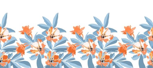 Padrão sem emenda floral de vetor, fronteira. laranja, flores brancas, ramos azuis e folhas isoladas no fundo branco. para desenho decorativo de qualquer superfície. Vetor Premium
