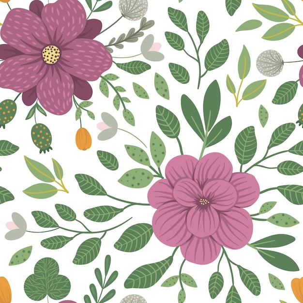 Padrão sem emenda floral de vetor. ilustração na moda plana com flores, folhas, galhos. repetindo o padrão com prado, bosques, plantas florestais. Vetor Premium
