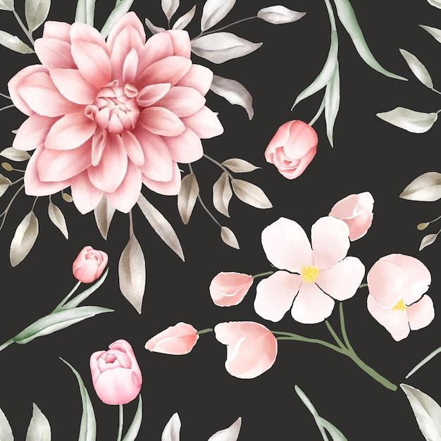 Padrão sem emenda floral em aquarela elegante Vetor Premium