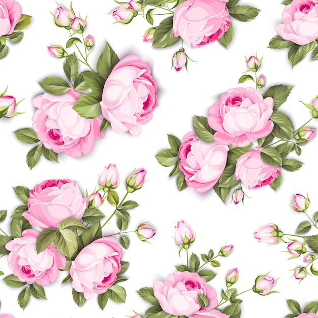 Padrão sem emenda floral. rosas desabrochando em fundo branco. Vetor grátis