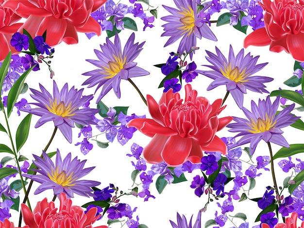 Padrão sem emenda floral tropical Vetor Premium