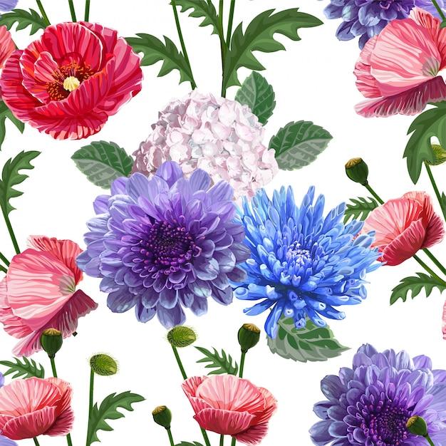 Padrão sem emenda floral Vetor Premium