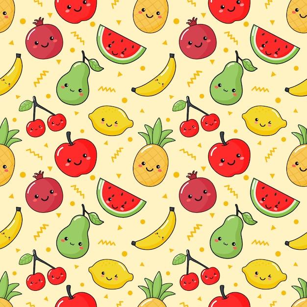 Padrão sem emenda frutas tropicais estilo kawaii em creme Vetor Premium