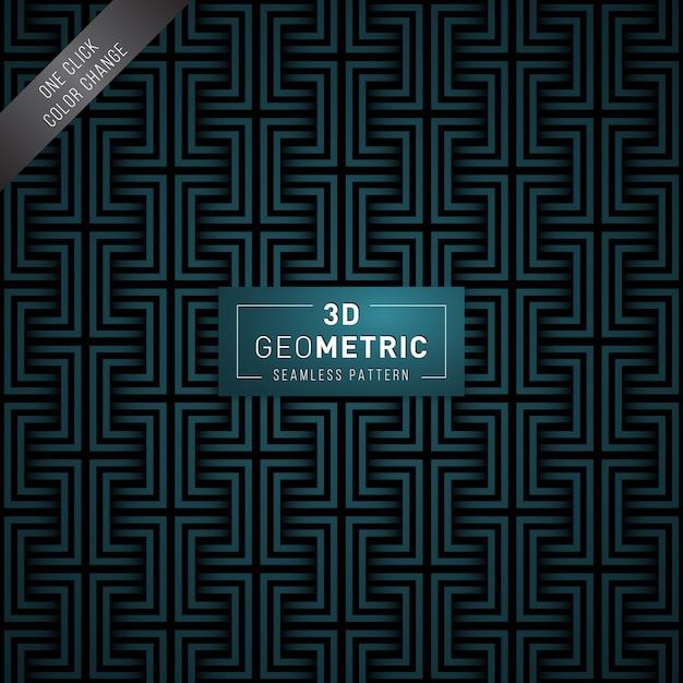 Padrão sem emenda geométrico 3d Vetor Premium
