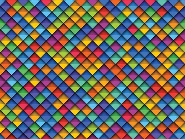 Padrão sem emenda geométrico colorido com papel cortado elementos realistas Vetor Premium