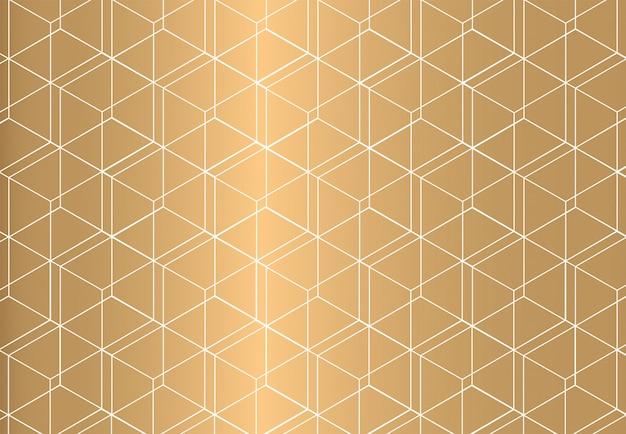 Padrão sem emenda geométrico de contorno branco sobre fundo dourado. estilo de luxo. Vetor Premium