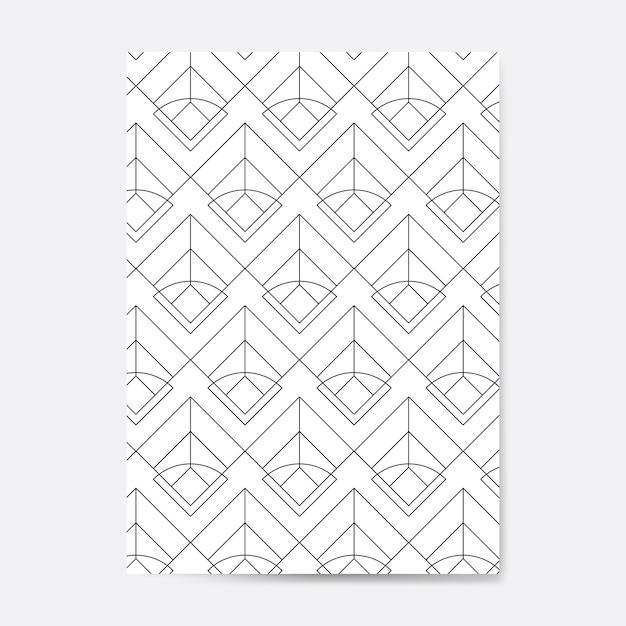 Padrão sem emenda geométrico preto em um cartão branco Vetor grátis