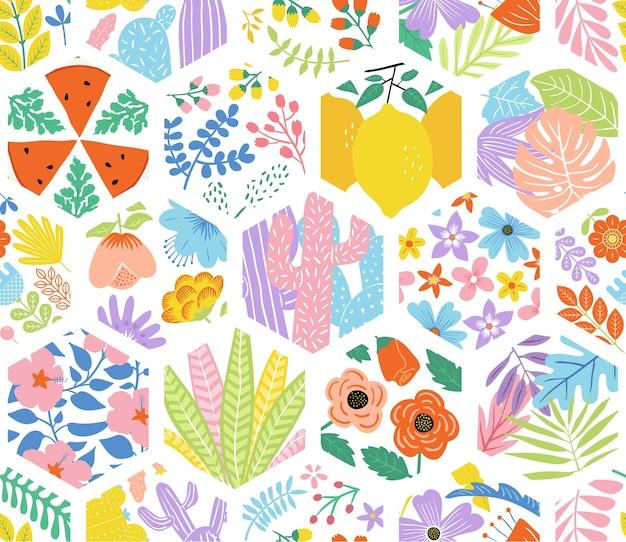 Padrão sem emenda hexagonal floral fofo Vetor Premium