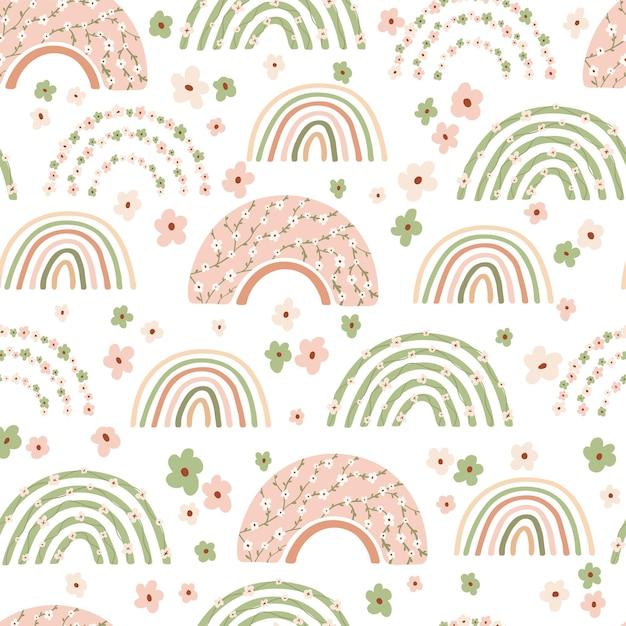 Padrão sem emenda infantil com arco-íris de primavera e flores em tons pastel. Vetor Premium