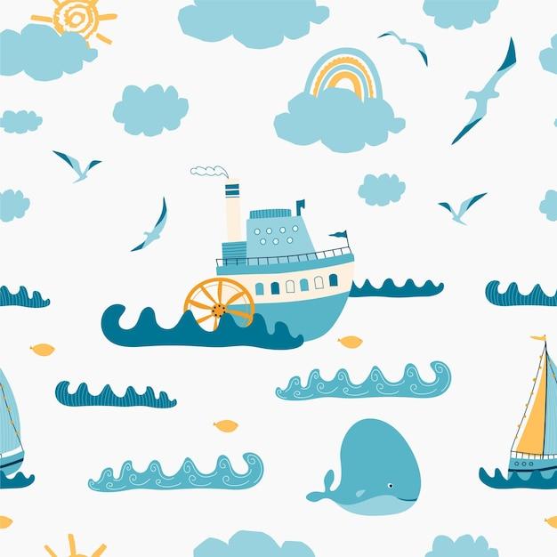 Padrão sem emenda infantil com vista do mar, vapor, veleiro, baleia, gaivota em fundo branco. Vetor Premium