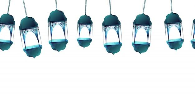 Padrão sem emenda islâmico para ramadan kareem em fundo branco. fanous de lanternas azuis para ilustração vetorial de mês de ramadã. Vetor Premium