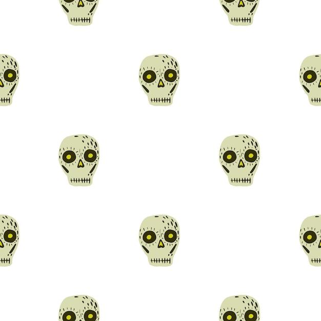Padrão sem emenda isolado com ornamento de decoração de caveira mexicana. formas de esqueleto bege em fundo branco. ilustração das ações. desenho vetorial para têxteis, tecidos, papel de embrulho, papéis de parede. Vetor Premium