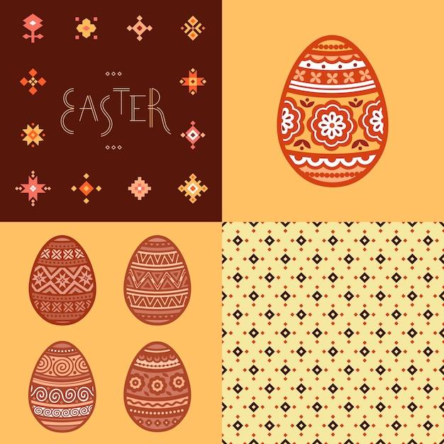 Padrão sem emenda, letras e colorido páscoa ovo planas ícones pintados em estilo tradicional. Vetor Premium