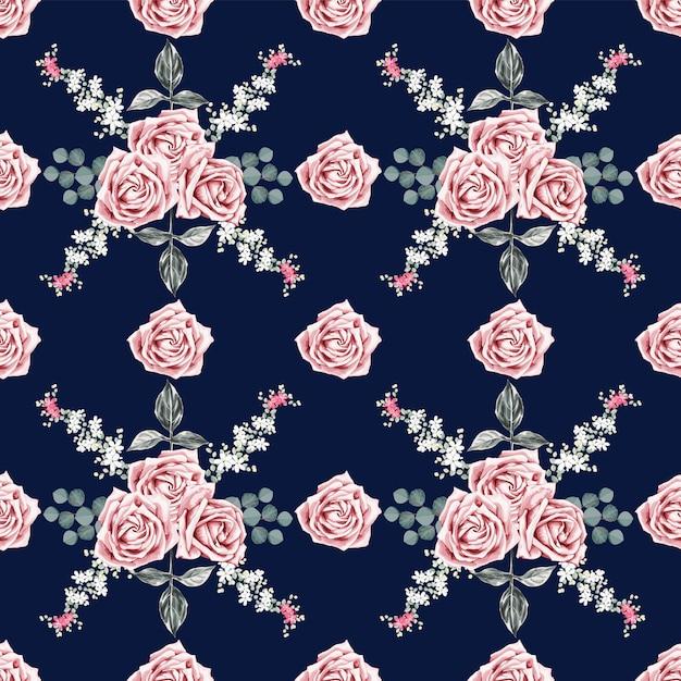 Padrão sem emenda linda rosa vintage flores Vetor Premium