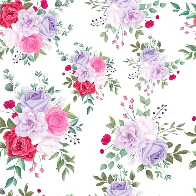 Padrão sem emenda lindo desabrochando floral Vetor grátis