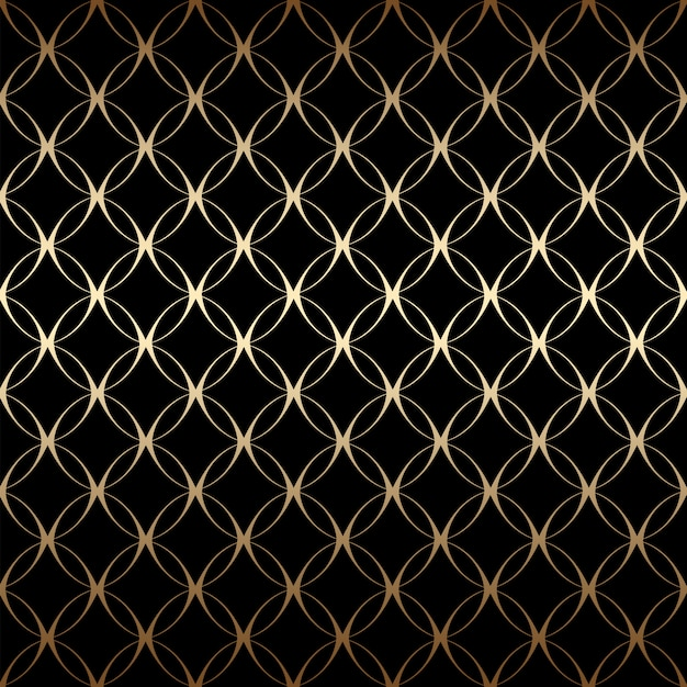 Padrão sem emenda linear simples de ouro art deco com círculos, cores pretas e douradas Vetor Premium