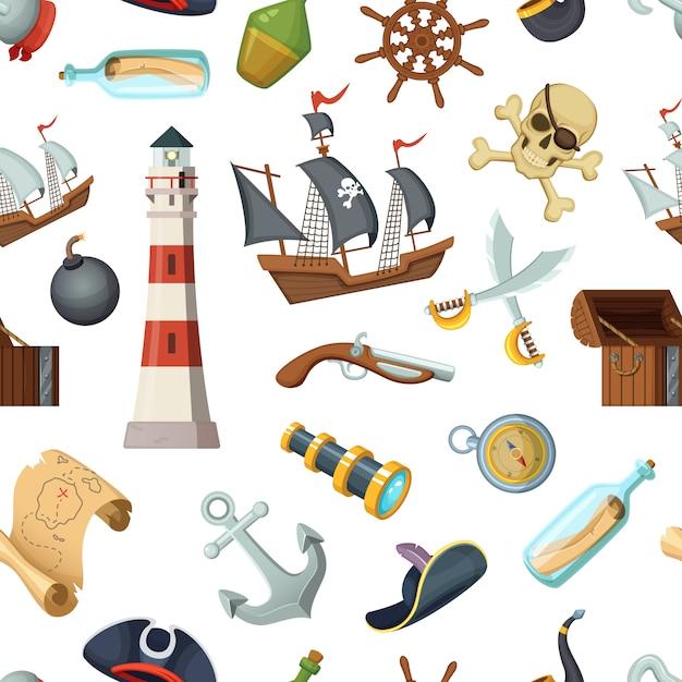 Padrão sem emenda marinho com itens diferentes piratas. vector pirata, viagens, volante e garrafa de rum, âncora e ilustração de espada cruzada Vetor Premium