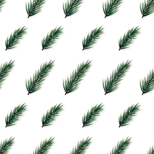 Padrão sem emenda minimalista com ramos de pinheiro realistas. Vetor Premium