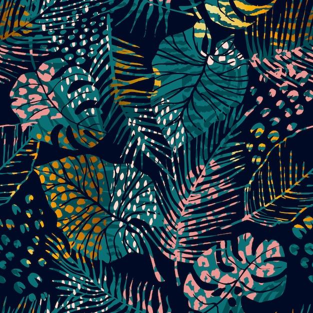 Padrão sem emenda na moda com plantas tropicais, estampas de animais e texturas da mão desenhada. Vetor Premium