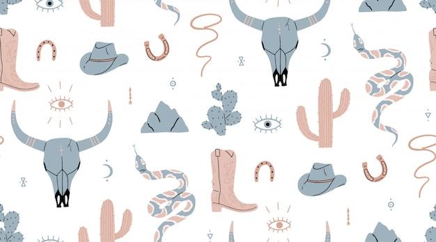 Padrão sem emenda. oeste selvagem, crânio de búfalo, olho, montanhas, cacto, chapéu de cowboy, bota de cowboy, víbora. Vetor Premium