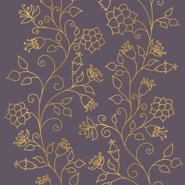 Padrão sem emenda. ornamento floral ouro sobre fundo escuro. texturas na moda de brilho dourado. Vetor Premium