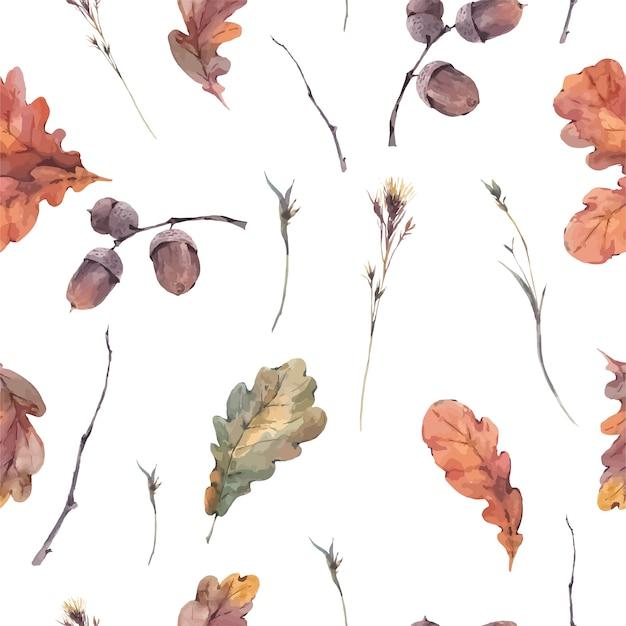 Padrão sem emenda outono botânica Vetor Premium