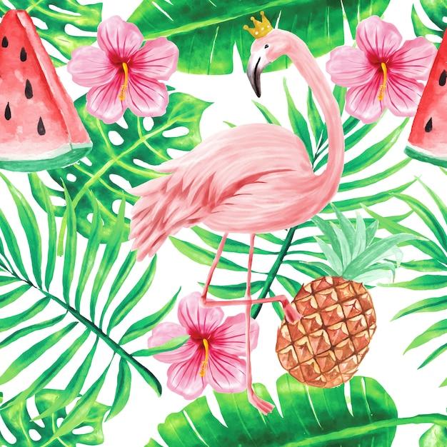 Padrão sem emenda, papel de parede bonito tropical aquarela flores verão Vetor Premium