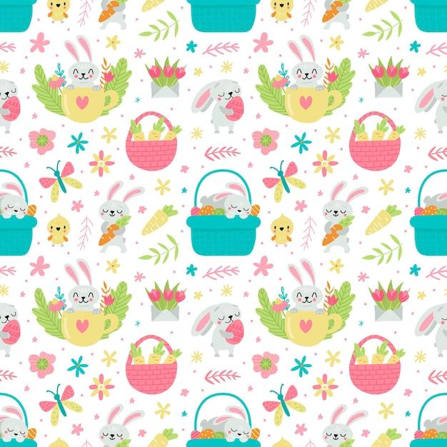 Padrão sem emenda para a páscoa com ilustração de coelhos e ovos Vetor Premium