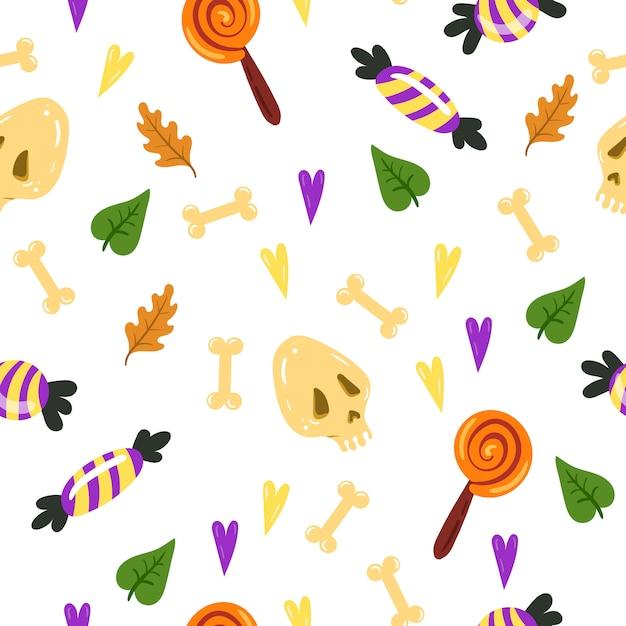 Padrão sem emenda para o halloween. textura sem fim para o fundo da página da web, papel de embrulho, cartões, convites. Vetor Premium