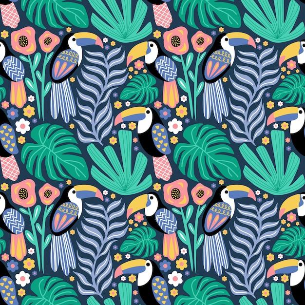 Padrão sem emenda pássaro tucano planta tropical monstera flor Vetor Premium