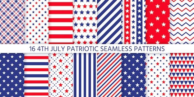 Padrão sem emenda patriótico americano. ilustração. 4 de julho azul, vermelho imprime. Vetor Premium