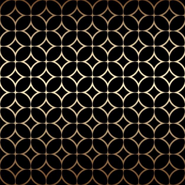 Padrão sem emenda simples dourado art déco com formas redondas, cores pretas e douradas Vetor Premium